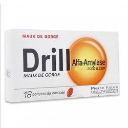 Drill Alfa-Amylase Maux de Gorge 18 comprimés enrobés pas cher, discount