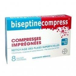 Biseptine Compress Plaies Superficielles Compresses x8 Sachets