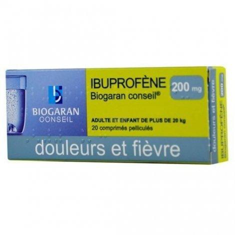 Biogaran Ibuprofène 200mg Douleurs Et Fièvres x20 Comprimés pas cher, discount