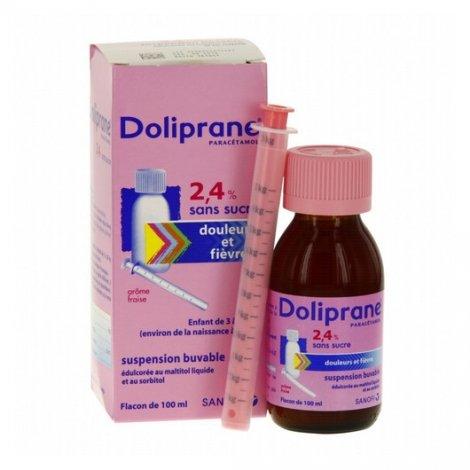 Doliprane 2,4% Sans Sucre Suspension Buvable Enfant 100ml pas cher, discount