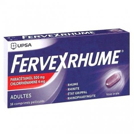 Upsa Fervex Rhume Rhinite Grippe x16 Comprimés Pelliculés pas cher, discount