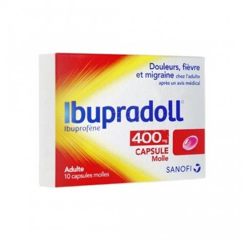 Ibupradoll 400mg Douleurs Fièvre Migraines Adulte x10 Capsules pas cher, discount