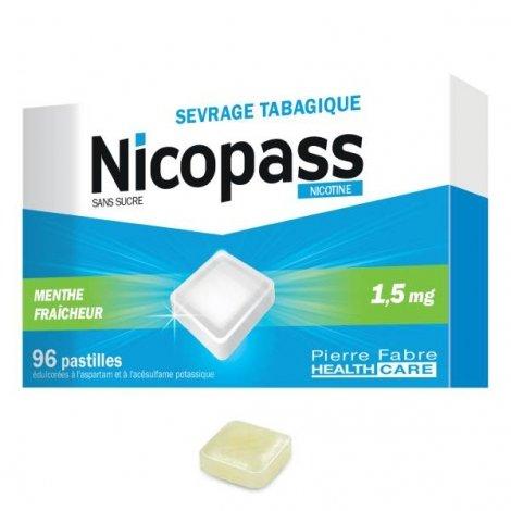 Nicopass 1,5 mg Menthe Fraîcheur Sans Sucre 96 Pastilles pas cher, discount