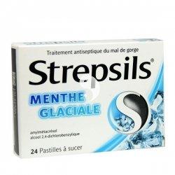 Strepsils Menthe Glaciale pour Mal de Gorge Boîte de 24 Pastilles à Sucer pas cher, discount