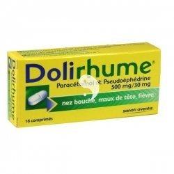 Dolirhume Paracetamol et Pseudoéphédrine 500 mg/30 mg Boîte de 16 Comprimés pas cher, discount