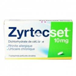 Zyrtecset 10 mg boîte de 7 comprimés sécables pas cher, discount