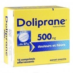 Doliprane 500 mg Douleurs et Fièvre 16 Comprimés Effervescents pas cher, discount