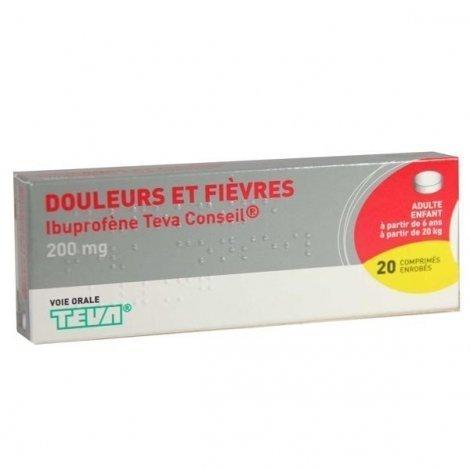 Ibuprofène 200 mg Teva Douleurs et Fièvres 20 Comprimés Enrobés pas cher, discount