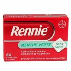 Rennie Menthe Verte Sans Sucre 60 Comprimés