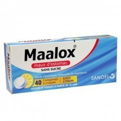 Maalox Maux d'Estomac Citron Sans Sucre 40 Comprimés à croquer pas cher, discount