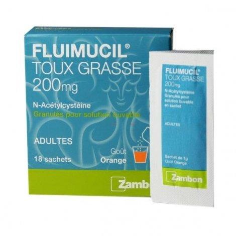 Fluimucil 200mg Toux Grasse Adulte 18 Sachets pas cher, discount
