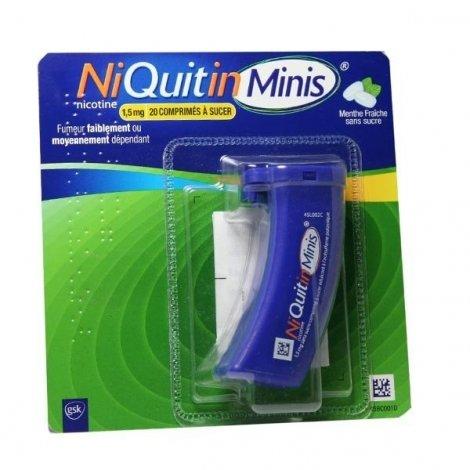 NiQuitin Minis 1,5 mg Menthe Fraîche Sans Sucre 20 Comprimés pas cher, discount