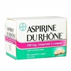 Aspirine du Rhône 500 mg 20 Comprimés à croquer pas cher, discount