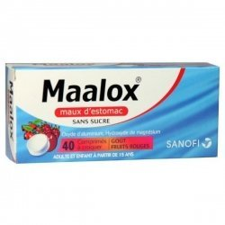 Maalox Maux d'Estomac Fruits Rouges Sans Sucre 40 Comprimés à croquer pas cher, discount