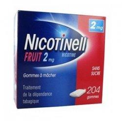 Nicotinell 2 mg Fruit 204 Gommes à mâcher Sans Sucre pas cher, discount